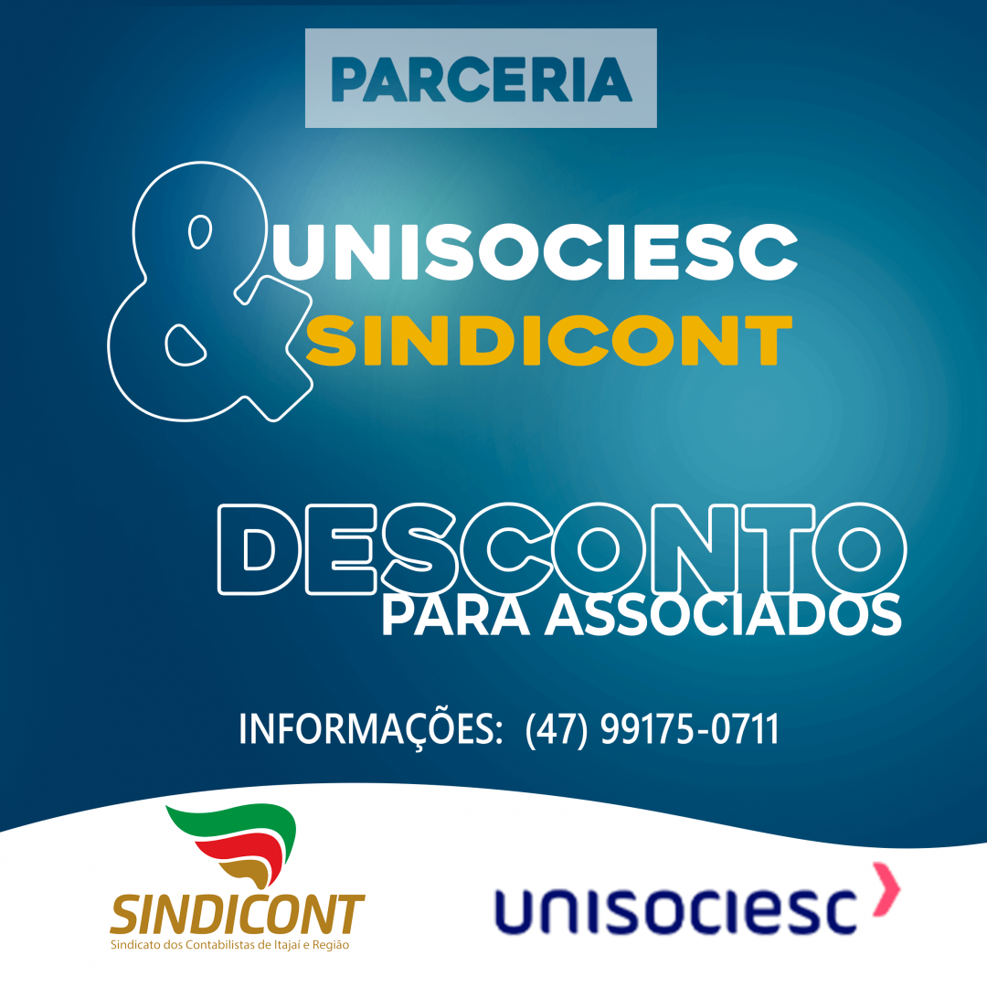 Os Associados do SINDICONT de Itajaí e Região possuem Descontos em cursos da UNISOCIESC - Universidade Sociedade Educacional de Santa Catarina Itajaí. Faça contato e saiba mais!s!